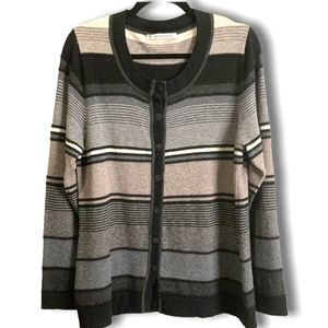 MANSTED 100% Lambswool Luxurious Striped Cardigan
